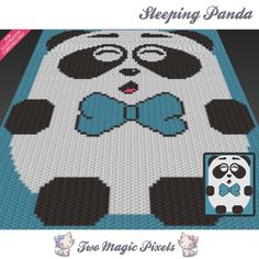 Sleeping Panda c2c graph crochet pattern; instant PDF download; baby blanket…