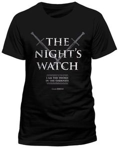 Producto oficial de T-camiseta de manga corta de juego de nieve reloj de mujer con Jon de Juego de Tronos NIGHTS todos los tamaños #camiseta #friki #moda #regalo