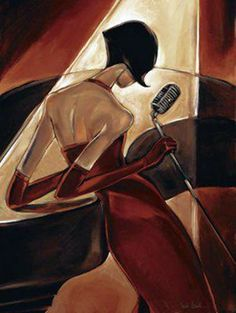 Classy, classy. You can almost hear the jazz coming from this picture. Found on Tempo da Delicadeza tumbler #piano #art #singer