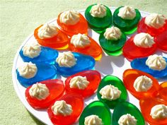 "Jello ""Deviled"" Eggs with whipped cream.. add some booze & i've got the perfect easter app."