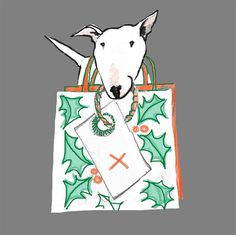 English Bull Terrier Christmas Card  Thoughtful by TheTerriersClub