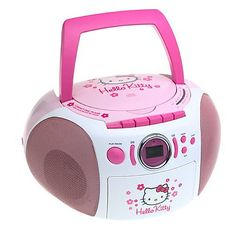 Hello Kitty Stereo CD Boombox. hoping she'll have her own room soon once we're moved, so this would be nice to have for night time to get her calmed down and in bed. She loves Hello Kitty things :).