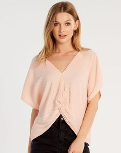 Shop and buy the latest in women's fashion and clothing online at Glassons.com. Check out this Pleated Twist Blouse - A short sleeve blouse featuring a fine pleated detail and twist front, we have styled with denim shorts and the Vintage Sneakers.