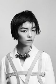 Model Fei Fei Sun is Wearing Jelena Behrend Bronze Choker on the Cover of the Issue. Photo by Hugh Lippe.Styled by Karen Kaiser. Edgy Short Hair, Short Hair Styles, Fei Fei Sun, Spring 2014, Summer 2014, Spring Summer, This Girl Can, Portrait Inspiration, Cute Faces