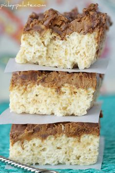 Chocolate Peanut Butter Cup Layered Krispie Treats - Picky Palate