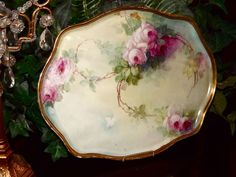 Limoges Fabulous Tray Covered in Wonderful Hand Painted Pink Roses from allthingslovelee on Ruby Lane