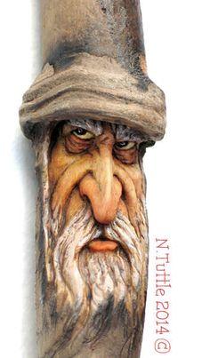 ORIGINAL WOOD SPIRIT CARVING MINIATURE WIZARD TALISMAN CHARM * OOAK NANCY TUTTLE