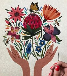 Like 59 Kommentare Maya Hanisch / Pili ( auf Instagra Art And Illustration, Illustrations, Character Illustration, Watercolor Illustration, Kunst Inspo, Art Inspo, Folk Art Flowers, Scandinavian Folk Art, Botanical Drawings