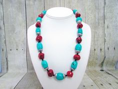 Southwestern Turquoise and Coral Necklace with Matching Earrings - T37 by daksdesigns on Etsy