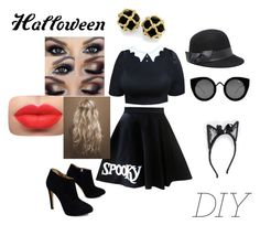 """""""~ DIY Halloween costume ~"""" by moniquedawson09123 ❤ liked on Polyvore featuring Giuseppe Zanotti, Bebe, Quay and Johnny Loves Rosie"""