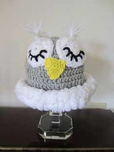 BABY OWL HAT. Cute Sleepy Owl Hat for Baby. by Bluetulipgifts, $12.99