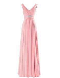 WeiYin Women's Chiffon V-Neck Long Prom Dresses Bridesmaid Dresses Pink US 16