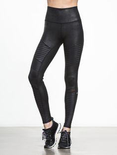 High-Waist Moto Legging by ALO YOGA in Black Performance Leather/Black Glossy