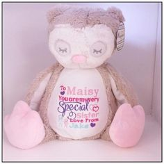 Your place to buy and sell all things handmade Personalised Teddy Bears, Personalized Baby Gifts, Kids Birthday Gifts, Baby 1st Birthday, Cute Owl, 1st Birthdays, Baby Feet, New Baby Gifts, Christening