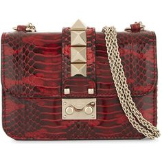 Valentino Mini lock snake mini leather shoulder bag (£1,690) ❤ liked on Polyvore featuring bags, handbags, shoulder bags, red shoulder bag, leather shoulder bag, red leather shoulder bag, mini handbags and leather shoulder handbags