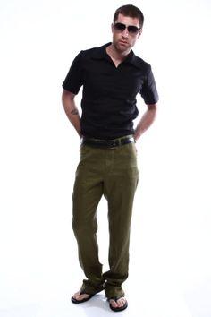 Moneta Menswear Perfect Olive Linen Jeans