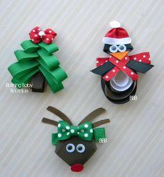 Christmas Trio- Set of 3 Christmas Hair Clips- O Christmas Tree- Paulie the Penguin- Santa's Little Reindeer. $9.00, via Etsy.