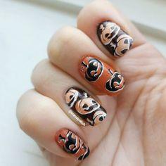 Halloween pumpkin nail art!
