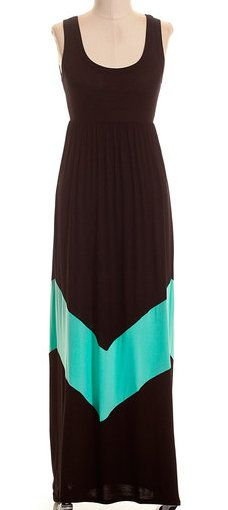 Black & Mint Chevron Maxi Dress - I'm not a huge fan of maxi dresses, but this one is pretty cute.