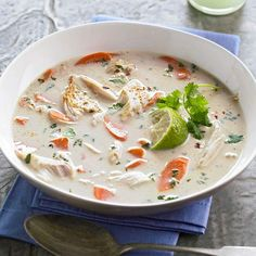 Fast & Easy Dinner: Coconut Lime Chicken Soup // Made this last night, it was delicious. We also added green peppers, jalapenos, and garnished with basil and cilantro. Could also add other veggies. I Love Food, Good Food, Yummy Food, Tasty, Coconut Lime Chicken, Coconut Milk, Thai Coconut Soup, Coconut Curry, Fast Easy Dinner