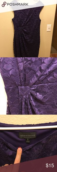 Purple Lace Shift Dress Beautiful Lace Overlay... classic fit Connected Apparel Dresses