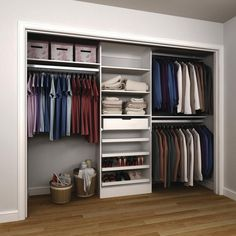 D melamine reach-in closet kit in mocha (brown) organiser son dressing, clo Closet Design Tool, Bedroom Closet Design, Master Bedroom Closet, Closet Designs, Bedroom Storage, Bathroom Closet, Closet Ikea, Ikea Closet Organizer, Closet Organization