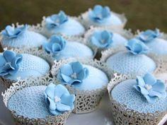 Vintage Blue Lace Cupcakes