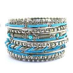 Set of 12 Silver & Turquoise Beaded Bangle Bracelets Stackable Bangle Bracelet