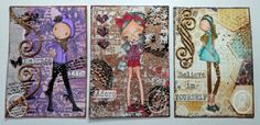 ADU images with mixed media ATCs