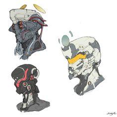 ArtStation - cyborg heads, Ching Yeh