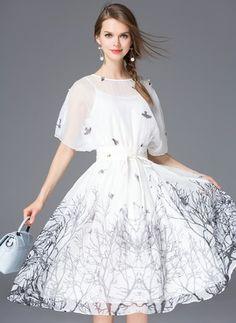 White Cotton Dress  White Cotton Others Short Sleeve Knee-Length Dresses