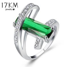 17KM Fashion Hollow Crystal Rings For Women Wholesale Sliver Color Green Red Ring Anillos Fashion Engagement Wedding Jewelry