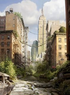 i like how this shows an abandoned city as it gives a place normally full of life and makes it lifeless Post Apocalypse, Apocalypse World, Post Apocalyptic City, Ruined City, Abandoned Cities, Fantasy Places, Fantasy Landscape, End Of The World, Zombies