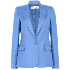 Stella McCartney Steel Blue Ingrid Jacket (64.460 RUB) ❤ liked on Polyvore featuring outerwear, jackets, wool tuxedo jacket, blue tux jacket, stella mccartney jacket, collar jacket and blue wool jacket