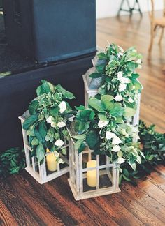 Ladders adorned with leafy greens and florals, wooden crates, shabby chic wedding receptio… (With images) Lantern Centerpieces, Lanterns Decor, Wedding Centerpieces, Wedding Table, Rustic Wedding, Our Wedding, Chic Wedding, Wedding Ideas, Simple Wedding Decorations