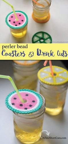 """Turn a case of the """"I'm boreds"""" into something useful and fun. Make this fun craft project for the kids Summer Perler Bead Coasters & Drink Lids. A simple functional craft that they will love!"""
