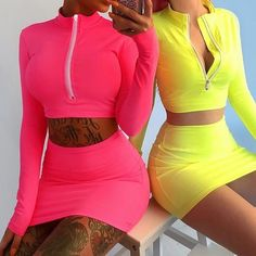 Women's Spring Long Sleeve Front Zipper Jacket with Bodycon Mini Skirt Suit Set Neon Outfits, 2 Piece Outfits, Cute Outfits, Fashion Outfits, Skirt Fashion, Casual Outfits, Two Piece Dress, Two Piece Outfit, Dress Set