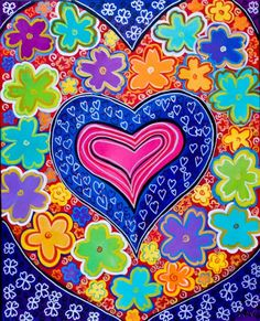 ☮ American Hippie Art ~ Hearts and Flowers