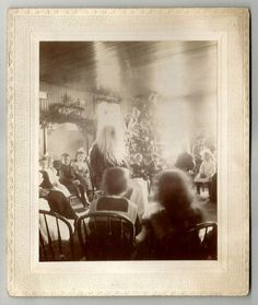 1890s Matted Photo Santa Claus w/ Classroom