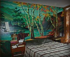 """Paint by Number Wall Mural. With just a little """"extra"""" you can blend these to look more like a real oil painting, and add supreme richness to your home! Paint By Number Vintage, Forest Mural, Wall Murals, Wall Art, Number Art, Stencil Painting, Vintage Walls, Home Art, Wall Decor"""