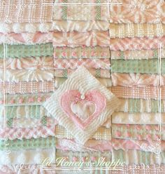 "Chenille fabric quilt squares 42-6"" blocks, pink & green, very shabby chic, vintage bedspread fabric by lilhoneysshoppe on Etsy"