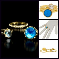 """Turquoise Stone & Gold Boho 3 Ring Stacked Set NEW WITH TAGS  Retail: $48 Boho 14K Gold Plated Polished & Textured Stone Rings  * Gorgeous gold-tone settings.   * Beautiful prong set turquoise & crystal stones.  * Ring faces measures about 1/8-3/8""""W  * Size 6 ***Avoid excessive bending.  Material: 14k Gold plated brass, Chinese crystal, & resin;Semi-Precious Item:  No Trades ✅Offers Considered */Bundle Discounts✅ *Please use the 'offer' button to submit an offer. Boutique Jewelry Rings"""