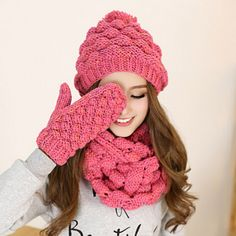 Pink beret hat scarf and gloves set for women knit winter wear