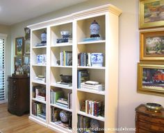 Blue, White and A Ballard Bookcase, Before and After www.classiccasualhome.com