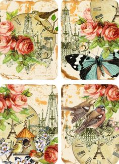 Vintage Inspired Birds Roses Butterfly Small Note Cards Tags ATC Set of 8 | eBay