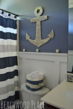HOME DECOR – COASTAL STYLE – nautical bathroom decor, bathroom ideas, repurposing upcycling, wall decor.--For the boys bathroom Decor, Coastal Decor, Bathroom Kids, Beach House Decor, Nautical Bathrooms, Home Decor, Nautical Bathroom Decor, Nautical Home, Bathroom Decor
