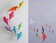 Les petits poissons en origami ~ Grenadine Acidulée - le blog lifestyle à Lyon Diy Origami, Mobil Origami, Origami Mobile, Diy And Crafts, Arts And Crafts, Paper Crafts, Mobiles, Iris Folding, Nautical Nursery