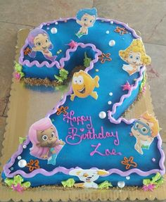 Bubble guppies cake, use for Olivia's party with graham cracker crumbs on the bottom of the pan