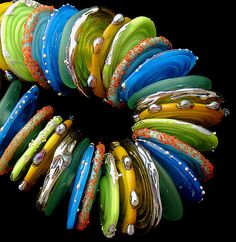 DSG Beads Handmade Organic Lampwork Glass Discs Made To Order - Tropical Reef on Etsy, $115.00
