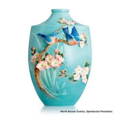 Franz Porcelain Vase - Blue Bird Vase